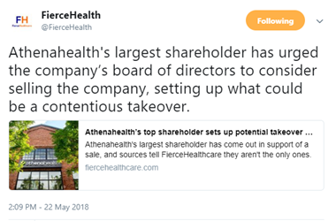 Tweet About Athenahealth's Potential Takeover