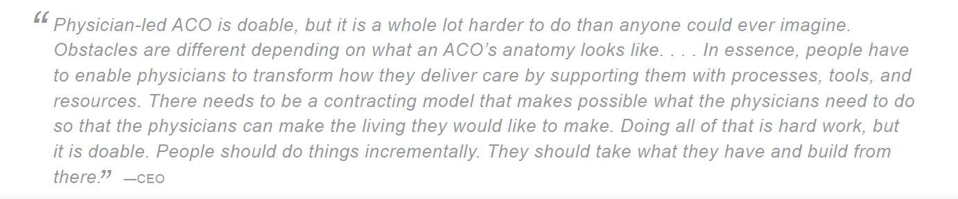 physician aco is doable