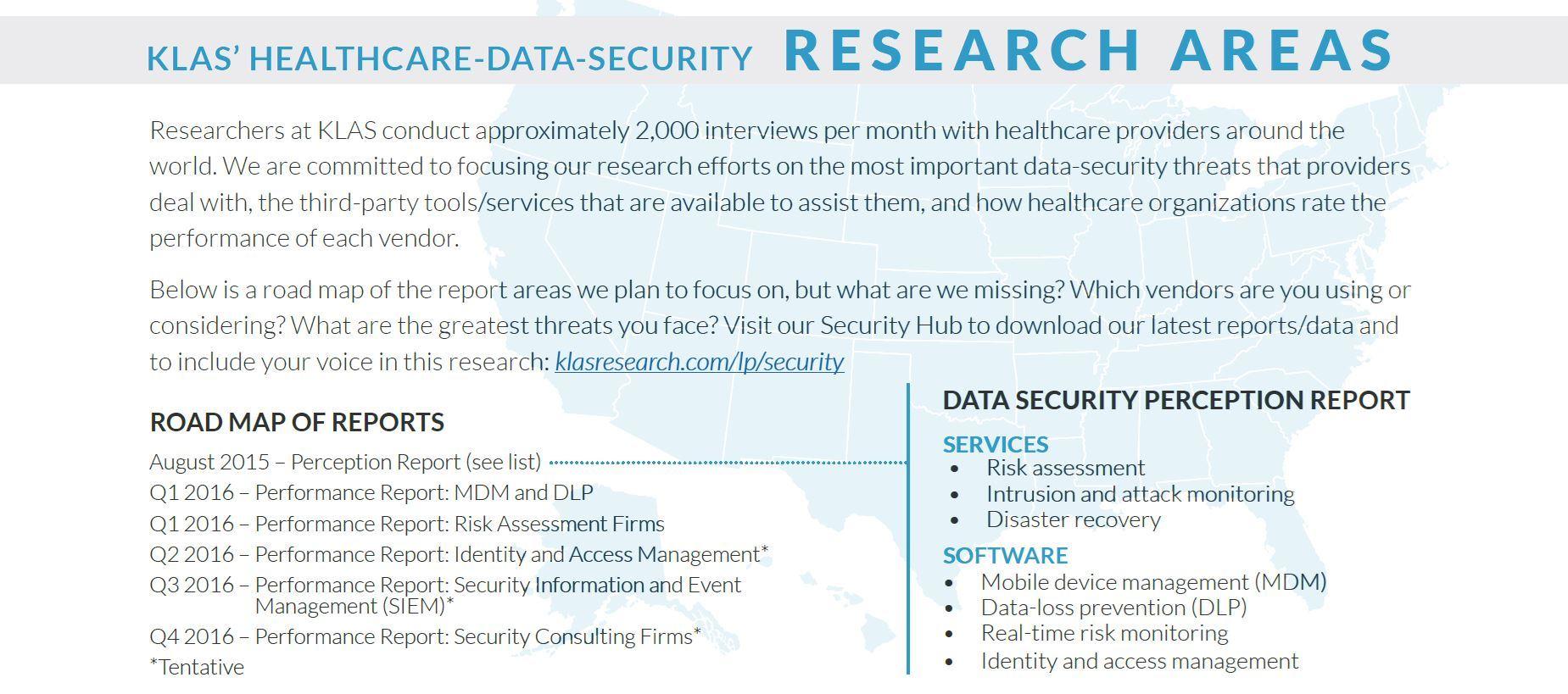 klas healthcare data security research areas