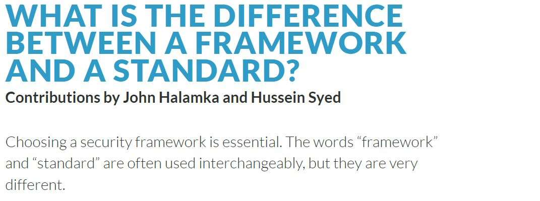 what is the difference between a framework and a standard