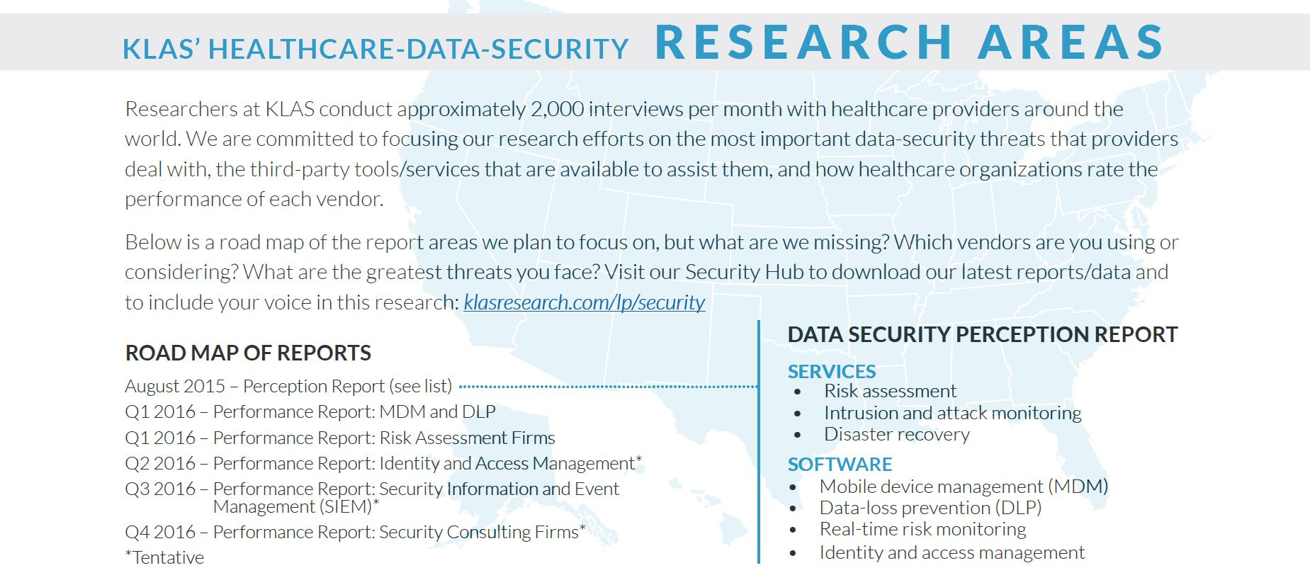 klas healthcare data security research areas