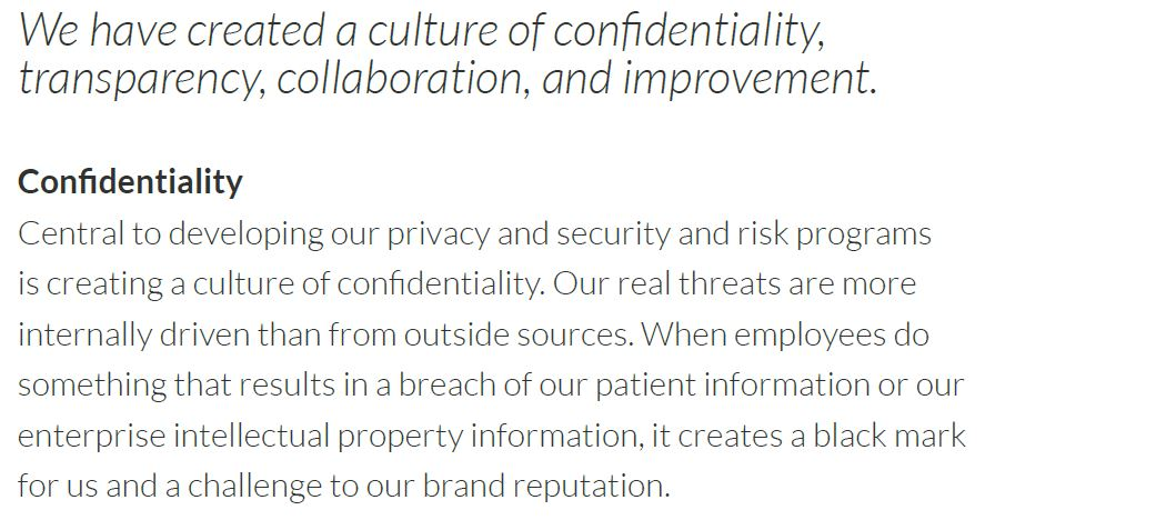 we have created a culture of confidentiality transparency collaboration and improvement