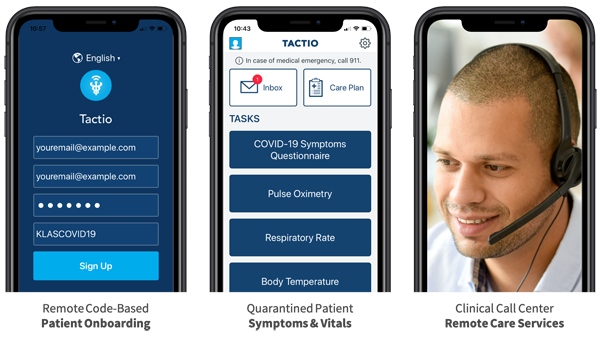 tactio remote patient monitoring and engagement mobile view